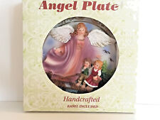 """Handcrafted Angel Plate with little boy and girl Gold Color Trim 4 1/2"""" 3-D"""