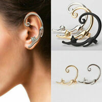 Women Retro Gothic Punk Rock Cat Clip Ear Cuff Ear Stud Wrap Cartilage Earrings