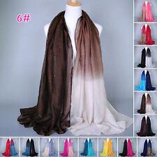 Stylish Women Soft Voile Glitter Gradient Long Scarf Scarves Wrap Shawl Stole