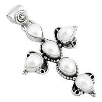 925 Sterling Silver 8.94cts Natural White Pearl Pear Holy Cross Pendant P35992