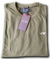 Men's Armani Jeans Crew Neck Long Sleev T-shirts Olive Green Size : Small  Sale