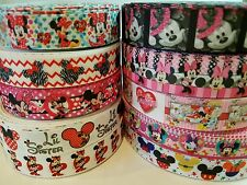 "10 Yards 7/8"" & 1"" minnie mouse Mixed Lot Grosgrain Ribbon Hair Bow Supplies"