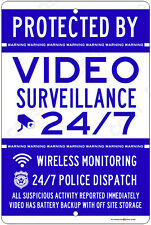 Protected By Video Surveillance CCTV Warning Security Camera Aluminum Metal Sign
