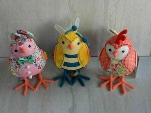 Spritz 2021 Featherly Friends Easter Fabric Bird Set- Bee, Bunny, & Roaster NEW