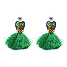 ZARA GREEN TASSEL STATEMENT DROP STUD EARRINGS