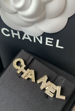 Authentic Chanel Letter Gold Crystal Earrings Fall 2020 New Boxed