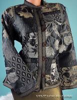 VTG Tudor Court Brown Patch work textured shiny Ethnic jacket blouse top Sz S