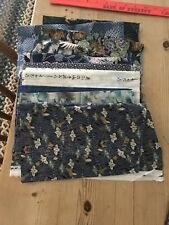 JAPANESE PRINT FABRIC QUARTER YARD CUTS BLUE'S LOT OF 10