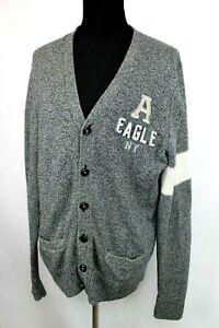 American Eagle Sweater Letterman Grandpa size L Men Cardigan Gray Wool Blend