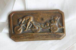 Rare Broche Ancienne Vélo et Remorque Cycliste Amusant Cabinet curiosité Brooch