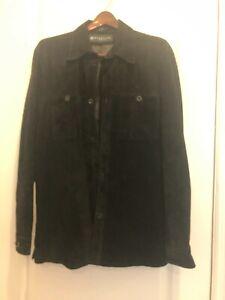 NEW Kenneth Cole REACTION Men's Black Suede Leather Shirt Jacket - Size Large