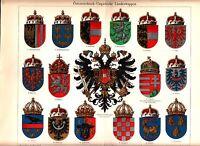 ca 1890 AUSTRIA HUNGARY COAT of ARMS Galicia Silesia Antique Chromolithograph
