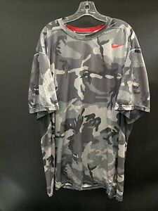 OHIO STATE GAME USED GRAY W/RED  CAMO DRI-FIT NIKE PRO COMBAT SHIRT SIZE 4XL