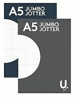 2xA 5 jumbo jotter writing pad, line ruled pages, for school ,office & home use