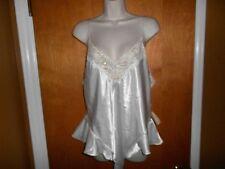 California Dynasty Large Bridal Ivory Satin Embellished Thong Teddy Lingerie NWT