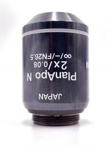 OLYMPUS PLAN APO 2X / 0.08  / - /FN26.5 MICROSCOPE OBJECTIVE LENS JAPAN