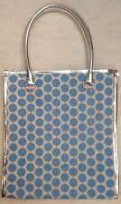 Serious Skin Care WHITE AND AQUA POLKA DOT TOTE BAG - Canvas