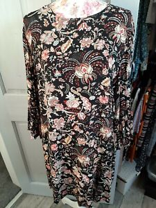 H&M Black Floral Tunic Style dress Size Eur42 (Approx 16/18)