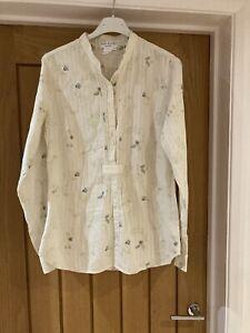 Ladies Paul And Joe Cream Patterned Cotton Shirt Size 3 (uk 12)