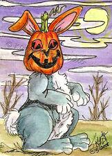 Pumpkin head Bunny Rabbit ACEO EBSQ Kim Loberg Mini Fantasy Art Halloween Moon