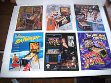 Lot Of (6) ORIGINAL PINBALL MACHINE Flyers ELVIS HARLEY DAVIDSON BAYWATCH set #4