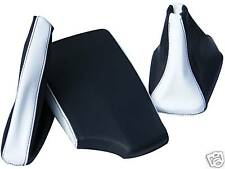 FITS BMW E36 E46 ARM REST COVER&GAITORS BLACK+WHITE LEATHER