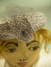 Powers Minneapolis VINTAGE Pale Blue Gray Woven PILLBOX HAT bow 1940s stylish
