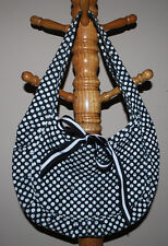 Split Fabric Handbag Purse Bag Black & White Polka Dots w/ Aqua Blue Logo Ties
