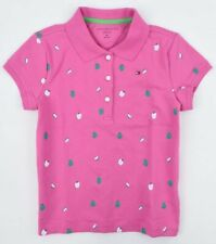 TOMMY HILFIGER Girls' Adorable Apple Print Polo Shirt, Pink, size 8-10 Years