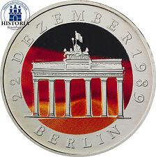 DDR 20 Mark Silbermünze BBT 1990 Stempelglanz Brandenburger Tor in Farbe