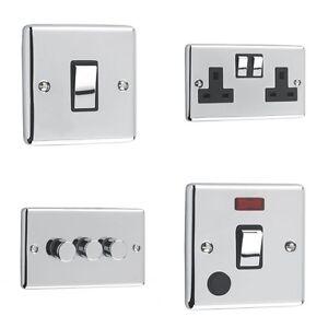 Windsor Range - Polished Chrome Sockets and Switches Black Trim