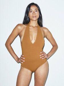 American Apparel Womens Jersey Halter 1 Piece Halter Bodysuit Nude, Medium
