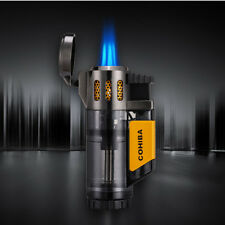 COHIBA  Grey Transparency Wind Proof 3 Torch Jet Flame Cigar Cigarette Lighter