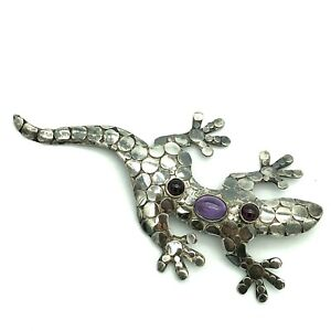 Sajen Brooch Pendant Sterling Silver Gecko Lizard Garnet Amethyst