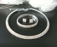 2 ROW CRYSTAL RHINESTONE DIAMANTE  CHOKER NECKLACE, EARRINGS & BRACELET  SET