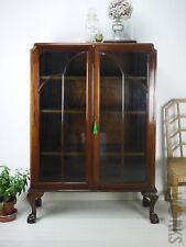 Mahogany Cloud Art Deco Bookcase Display Glass Cabinet Wood Ball & Claw Feet