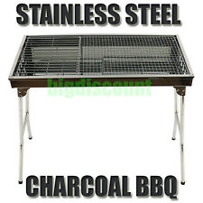 Stainless Steel BBQ Charcoal Wood Outdoor Barbecue Grill Camping Picnic Foldable