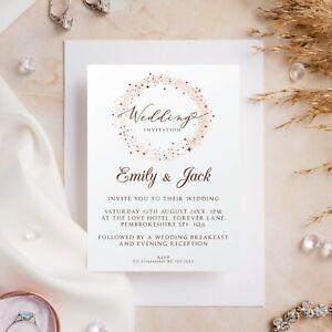 10 Wedding Invitations Day/Evening Modern Glitter Stars Ivory or White