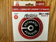 3 Pack Martin Lifespan MA540T Phosphor Bronze Light Acoustic Strings 12-54