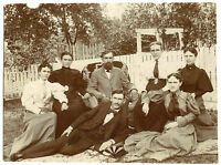 Antique Matted Photo-Group Group Sitting Outside-5 Ladies, 2 Men, 1 Beard, 1 Mou