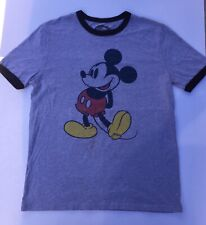Classic Walt Disney World Mickey Mouse Ash Gray Ringer T-shirt SZ Large Tee