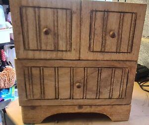 Wooden Mini Small Trinket Cupboard Chest Drawers Jewellery Box Unit 30cmx33cmx14