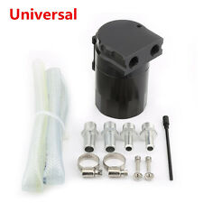 Black Universal Oil Reservoir Catch Can Tank Breather Filter Baffled Closed Loop