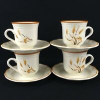 Set of 4 VTG Cups and Saucers by Sango Sangostone Autumn Wheat 2390 Korea