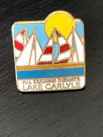 Vintage Collectible Lake Carlyle Colorful Metal Pin Back Lapel Pin Hat Pin