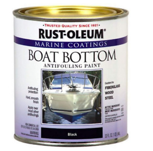 Marine Boat Bottom Antifouling Paint Fiberglass Wood Steel Used Black 1-Quart