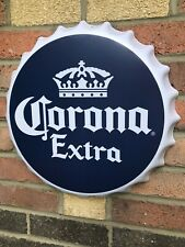 "Corona Extra Bottle Cap Shaped Large Metal Sign 16"" diameter (st)"