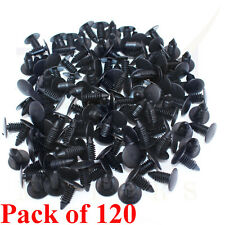 120PCs 9mm Car Auto Fender Hole Dia Plastic Rivet Fastener Push Clips Clip Black