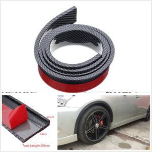 2 X 3.8cm/1.5M Black Carbon Fibre Color Car Fender Flare Wheel Eyebrow Protector