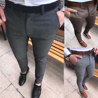 Men Plain Formal Business Suit Pants Slim Fit Straight Long Trousers Noted